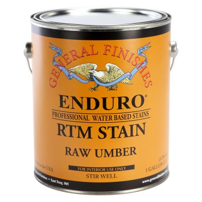 General Finishes Water Based RTM Stain Raw Umber Gallon.