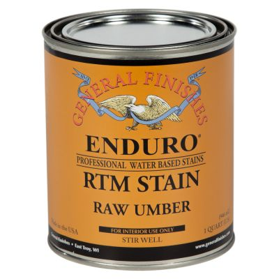 General Finishes Water Based RTM Stain Raw Umber Quart.