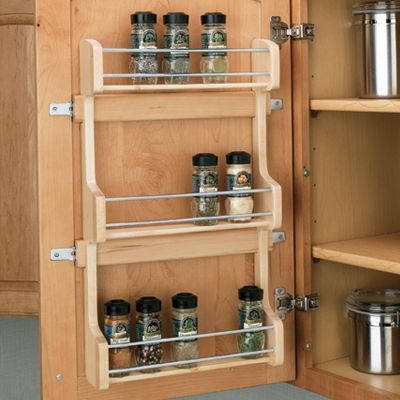 "Rev-A-Shelf Door Mount Wood Spice Rack maple 13-1/2"" wide"