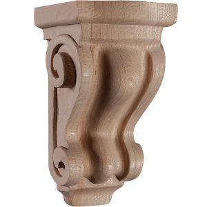 Art for Everyday Corbel Scroll 4 x 3 x 8-1/8 Maple