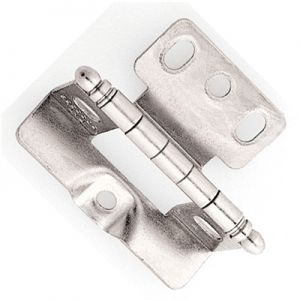 Amerock 3175TBG9 Full Wrap, Inset, Ball Tip, Sterling Nickel Hinge