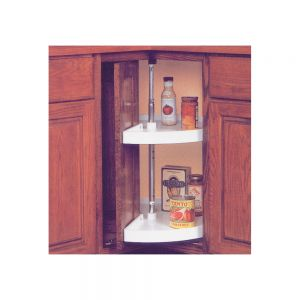 "KV Pie Cut / Door Mount Lazy Susan Set 28"" White"