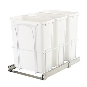 KV 20 Qt Triple Bin Bottom Mount Waste Bin White