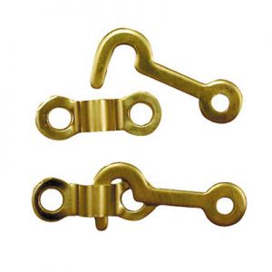 "National Hardware Solid Brass 3/4"" X 1-7/8"" Miniature Hook and Staple"
