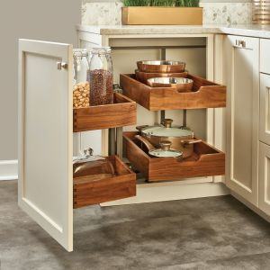 Rev-A-Shelf Blind Corner 2-Tier Walnut