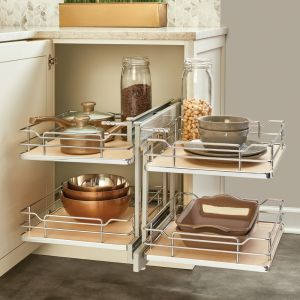 Rev-A-Shelf 26-1/4W 2Tier Blind Corner Unit Maple