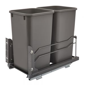 Rev-A-Shelf Steel Bottom Mount Waste Containers w/Soft Close Orion Gray