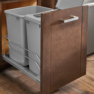 Rev-A-Shelf 53WC soft-close waste container units in a silver metallic or champagne finish.  Comes in single or double versions with 35 or 50 quart bins.