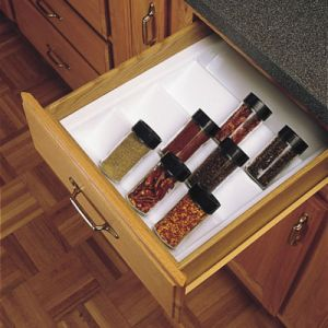 Rev-A-Shelf Glossy WhiteTrimmable Spice Drawer Insert