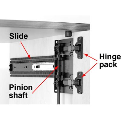 a slide and hinge assembly for pivot doors